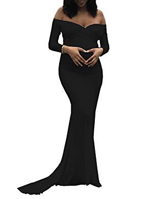 fcbd3cd185414 Saslax Maternity Elegant Fitted Maternity Gown Long Sleeve Slim Fit Maxi  Dress: